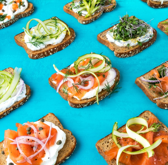 Assortment of open faced sandwiches