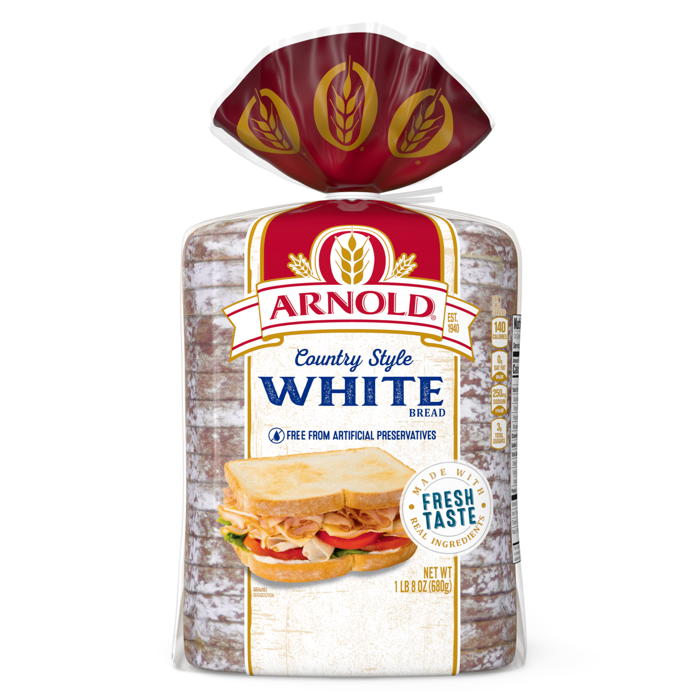 Arnold Country Style White Bread 24oz Packaging