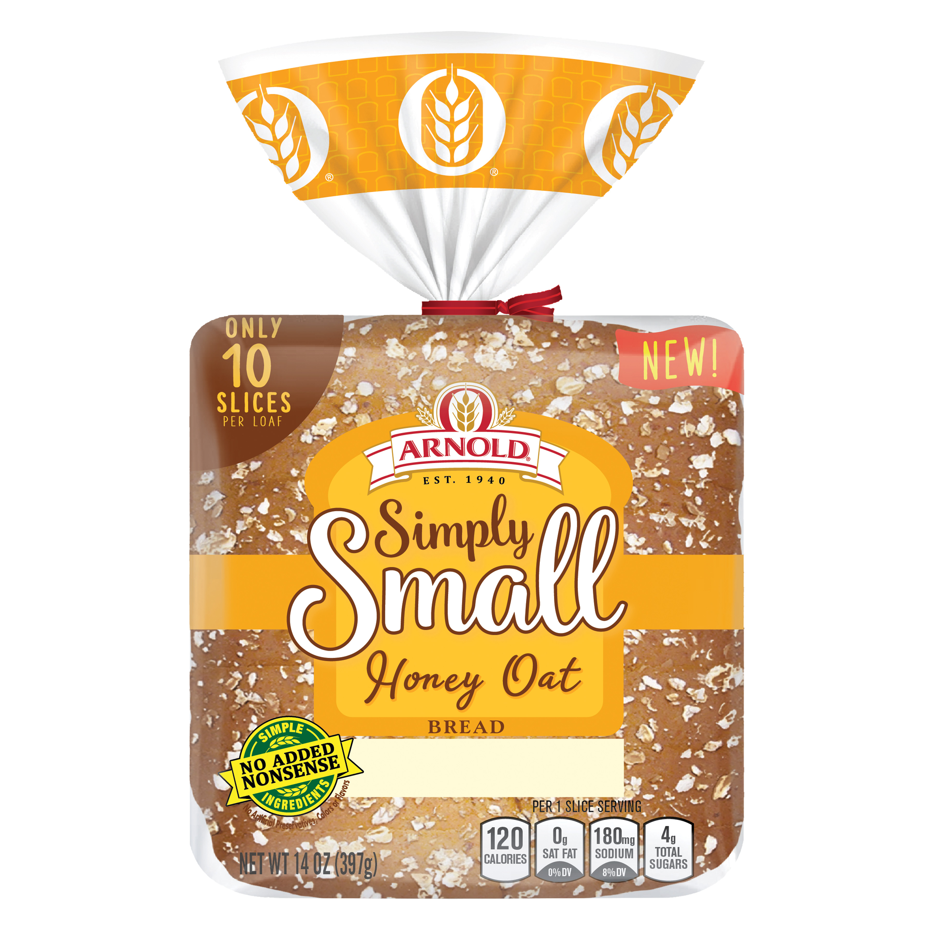 Arnold Simply Small Honey Wheat Bread Package Image