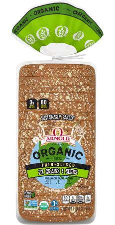 Arnold Organic Thin Sliced 22 Grains & Seeds Bread Package