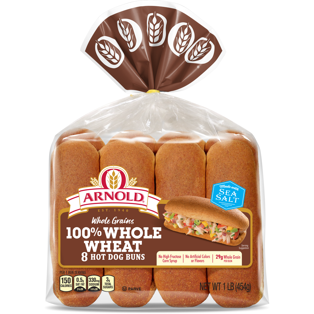 Arnold 100% Whole Wheat Hot Dog Buns Package Image