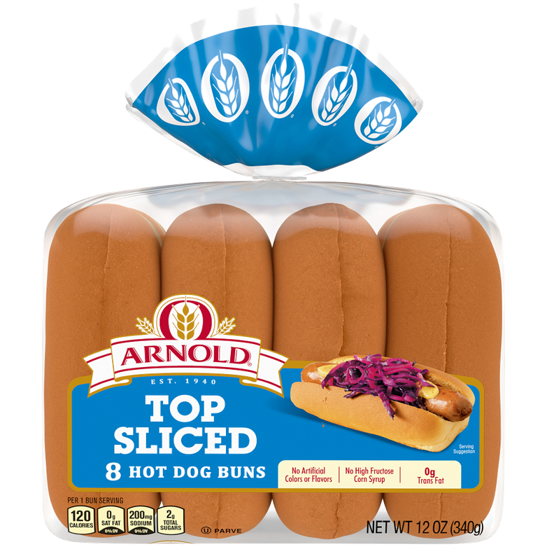 Arnold Top Sliced Hot Dog Buns Package