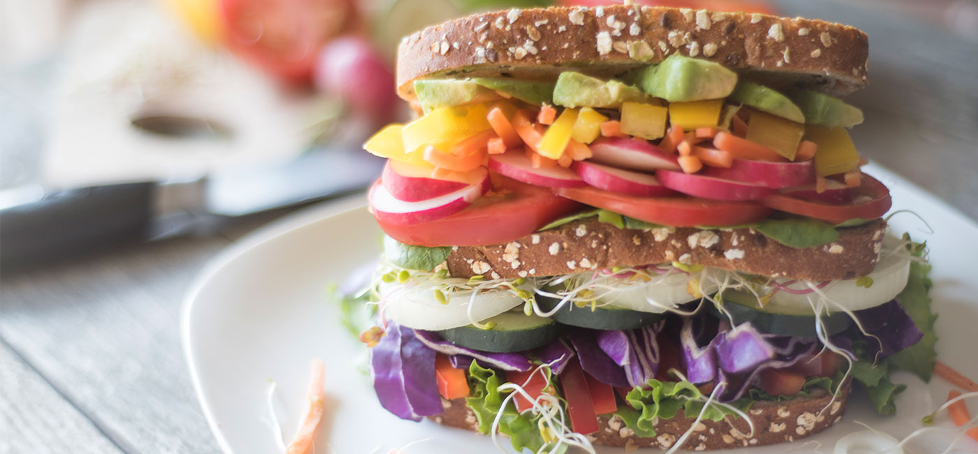 Rainbow Veggie Sandwich Recipe Image