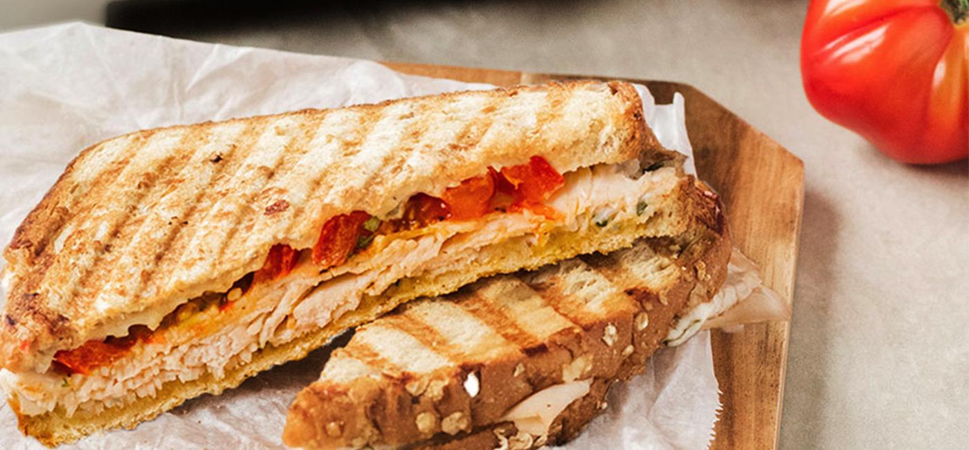 Garlicky Turkey Panini Recipe Image