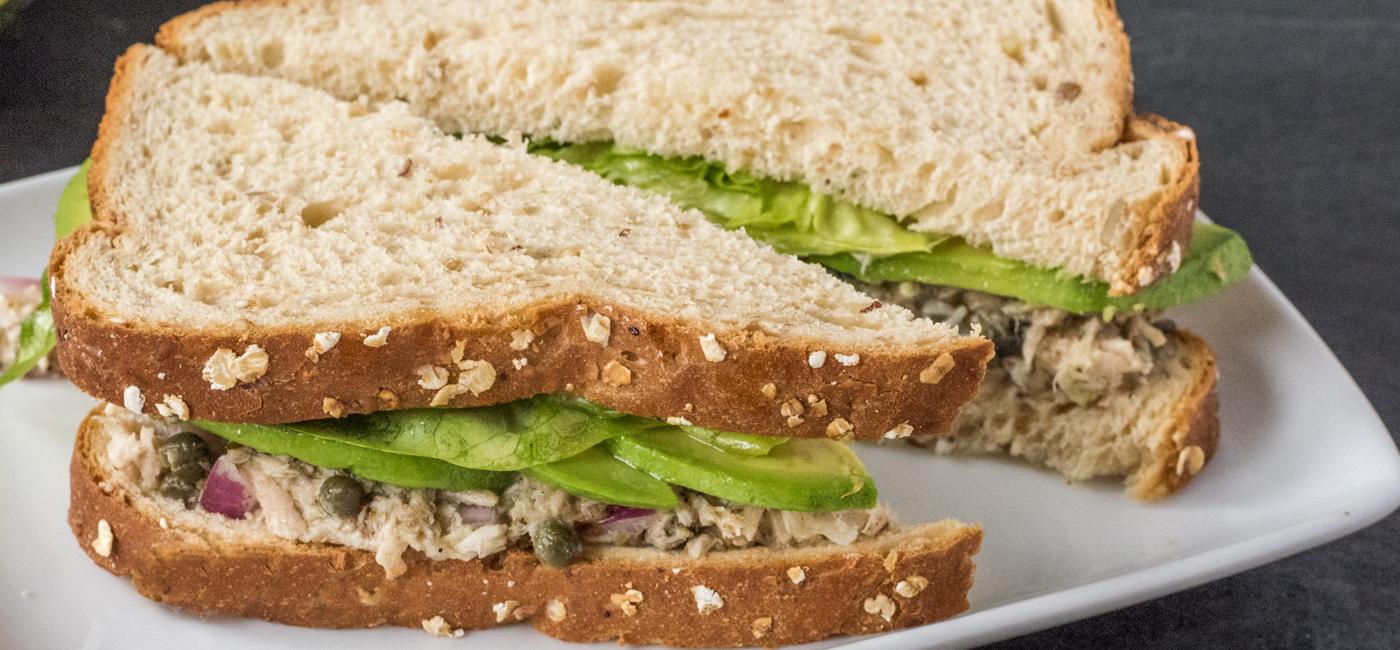 Tuna Salad with Avocado, Black Olive, Butterhead Lettuce & Lemon Vinaigrette recipe image