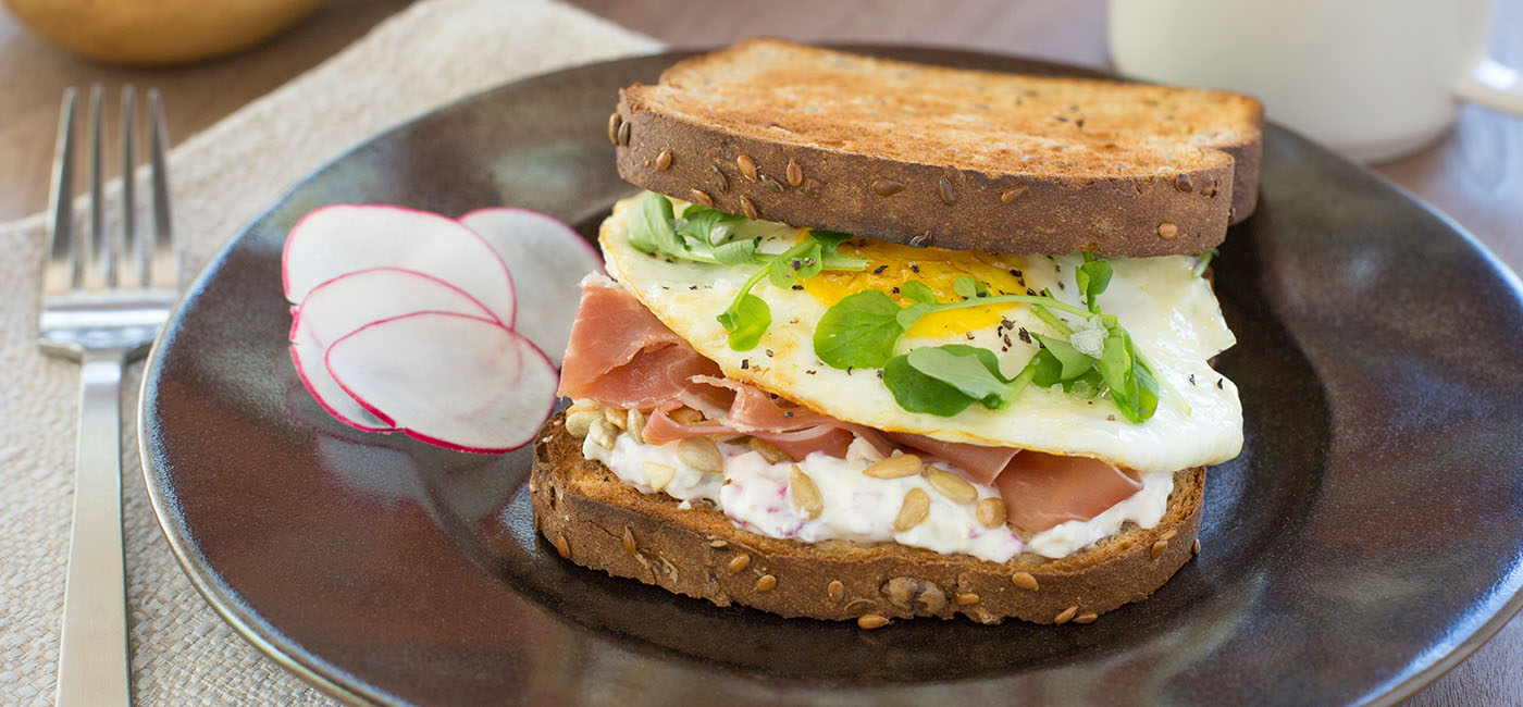 Over Easy Egg Sandwich with Radish Yogurt Recipe Image
