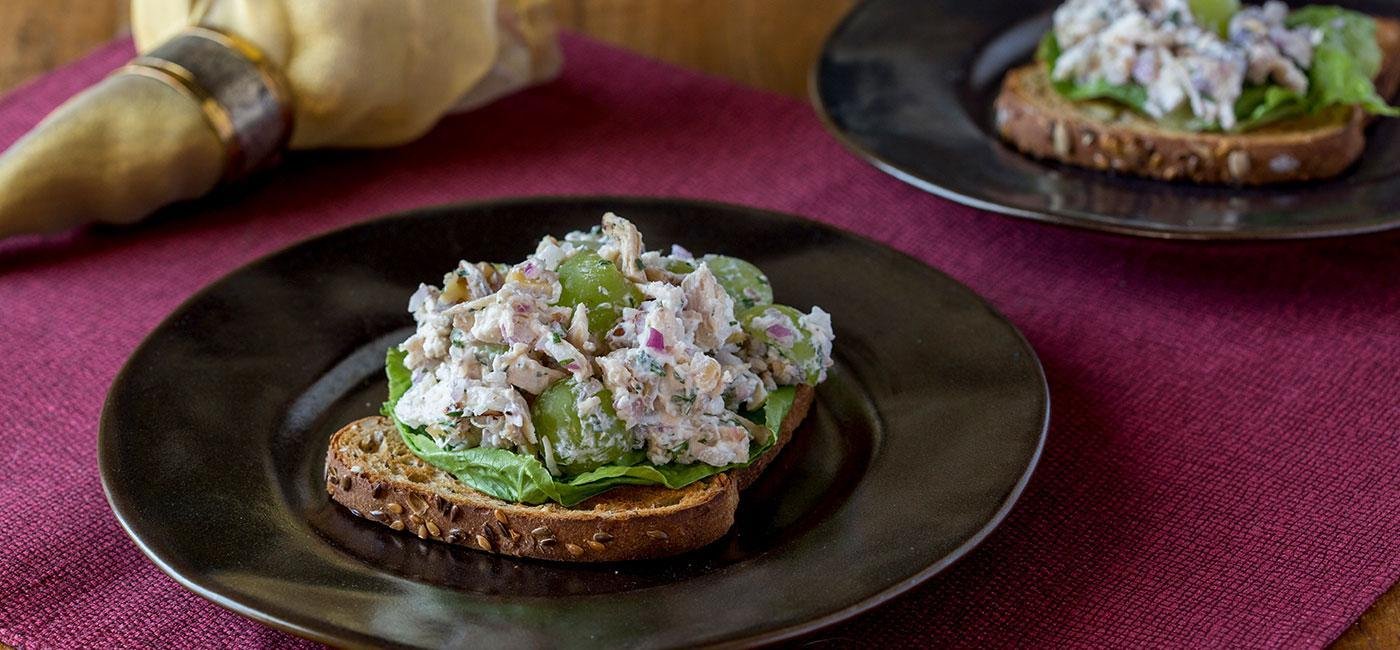 Holiday Inspired Turkey Grape Salad Sandwich Recipe Image