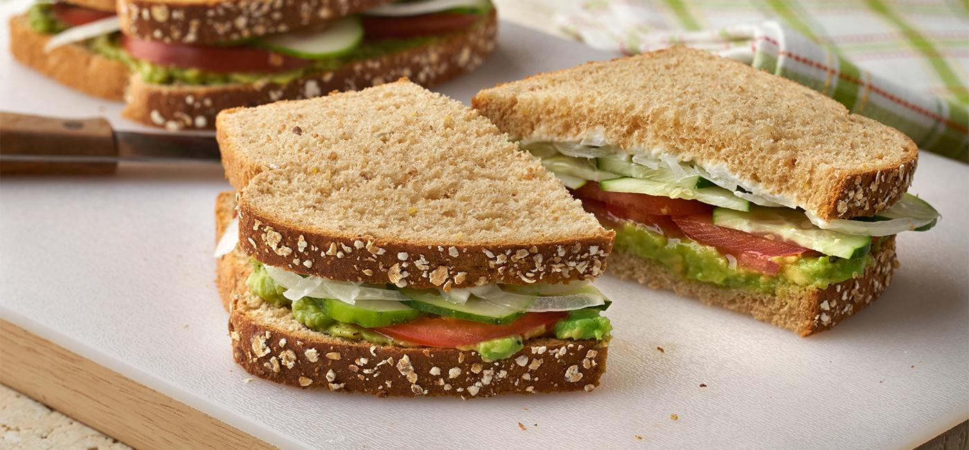 Vegetarian Whole Grain Avocado, Tomato and Cucumber Sandwich Recipe Image
