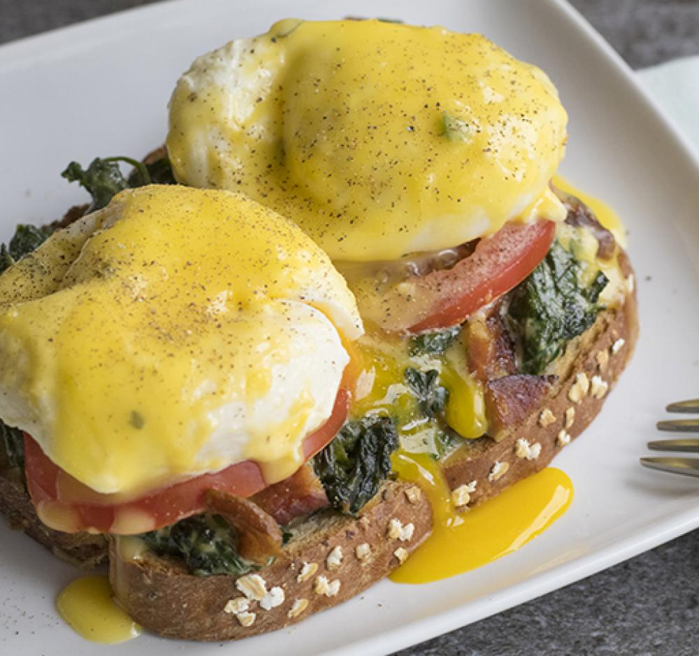 Spinach, Bacon & Tomato Eggs Benedict Recipe Image